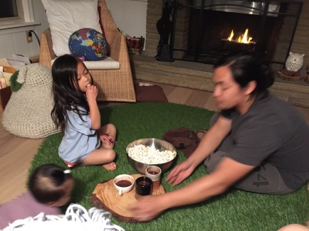 December Family meeting. Popcorn and hot coco. Got tricky with a bumbling baby, but it was fun!