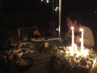 The unseasonably warm (60 degrees) weather on Christmas eve made for a lovely outdoor dinner by our chimnea, so thankful for a covered patio, the cozy warmth of a fire, and the excitement and anticipation of Christmas.